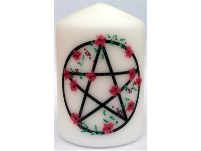10cm Pentacle with Roses Candle